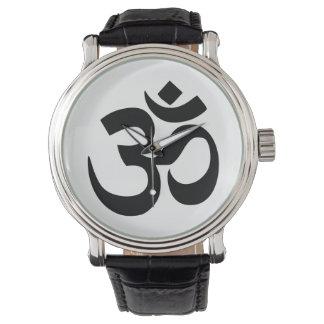Simple Black Om Symbol Yoga Meditation Zen Watch
