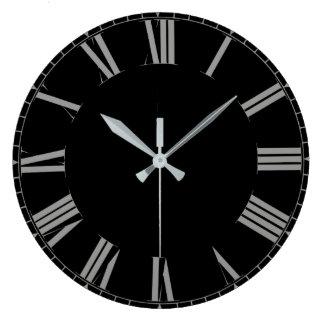 Simple black roman numerals large clock