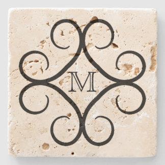 Simple black swirl monogram stone coaster