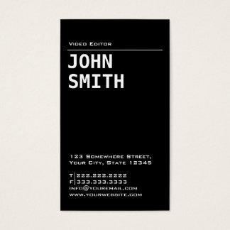 Simple Black Video Editor Business Card