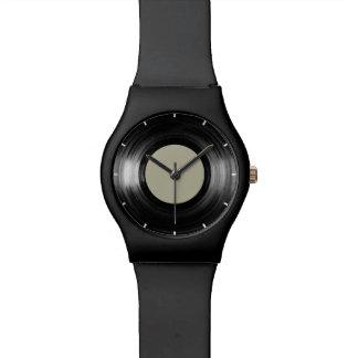simple black vinyl record wrist watch