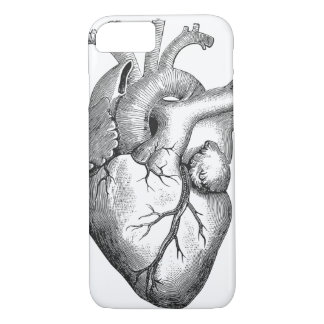 Simple Black White Anatomy Heart Illustration iPhone 8/7 Case