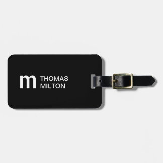 Simple Black White Bold Monogram Luggage Tag