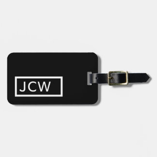 Simple Black White Frame Bold Monogram Luggage Tag
