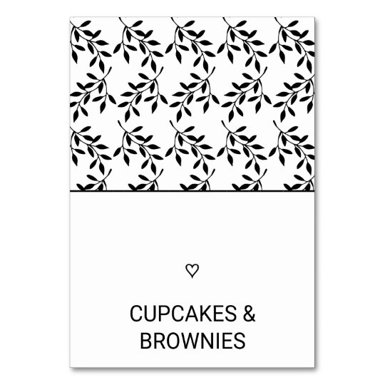 Simple Black & White Heart and Leaf Food Tent Card