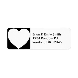 Simple black white heart return address labels
