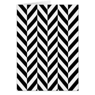 Simple Black White Herringbone Pattern Card
