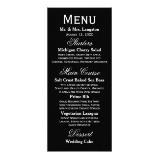 Simple Black/White - Reception Menu Rack Card