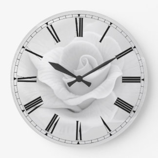 Simple Black & White Rose Roman Numeral Clock