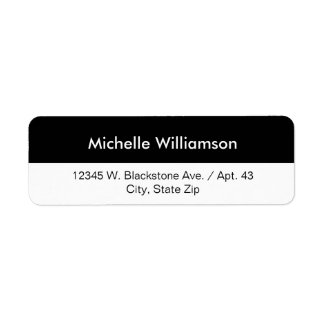 Simple Black White Stripe Custom Name or Company Return Address Label