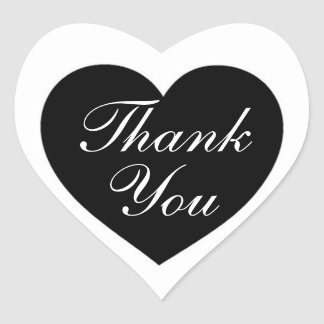 Simple black white thank you heart stickers