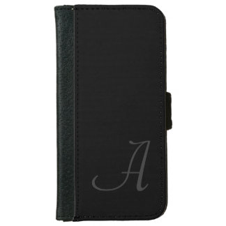 Simple Black with Gray Monogram iPhone 6 Wallet Case