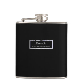 Simple Black with Lilacs Striped Trim Best Man Hip Flask