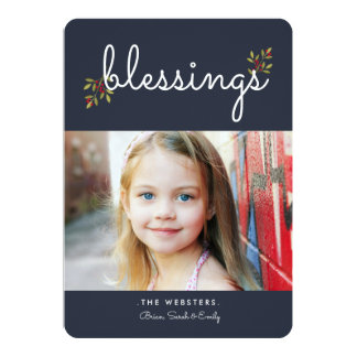 Simple Blessings Christmas Photo Card | Blue