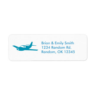 Simple blue airplane return address labels