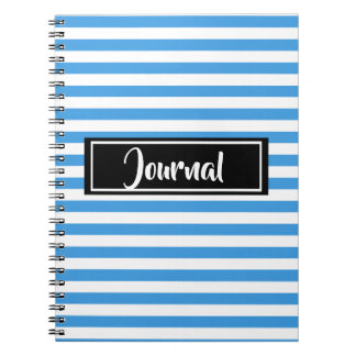 Simple Blue and White Stripes Striped Journal