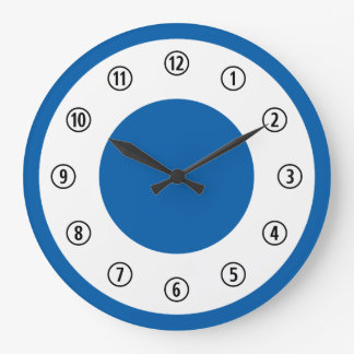Simple Blue and White With Numbers Circled Large Clock