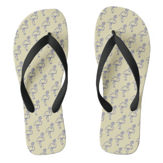 Simple Blue and Yellow Bird Pattern Flip Flops