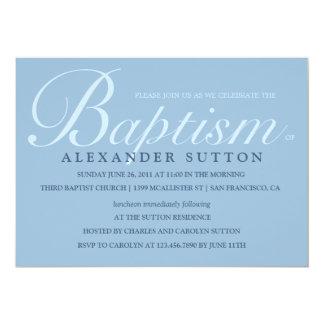 "Simple Blue Baptism/Christening Invite 5"" X 7"" Invitation Card"