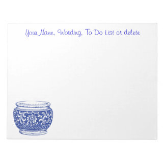 Simple Blue Cachepot Flower Pot Optional Wording Notepad