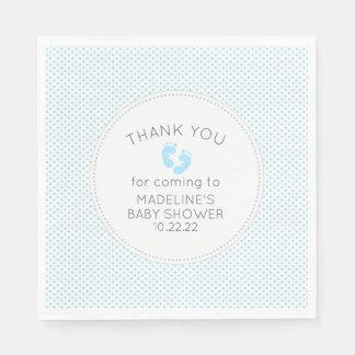 Simple blue dot boy baby shower decor napkin