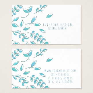 Simple Blue Floral Business Card