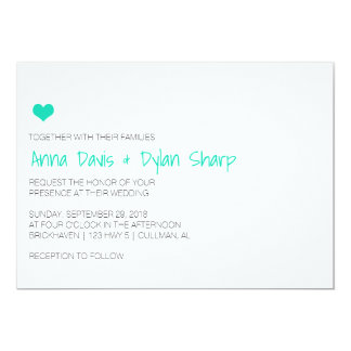 Simple Blue Heart Wedding Invitation