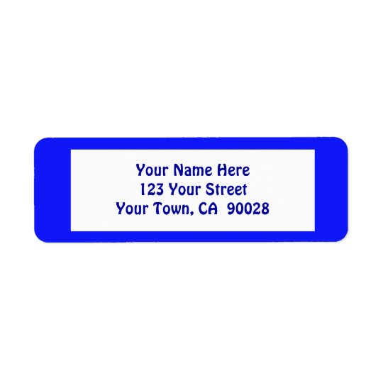 simple blue return address label