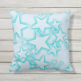 Simple Blue Stars Outdoor Pillow