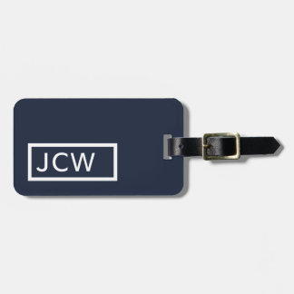 Simple Blue White Frame Bold Monogram Luggage Tag