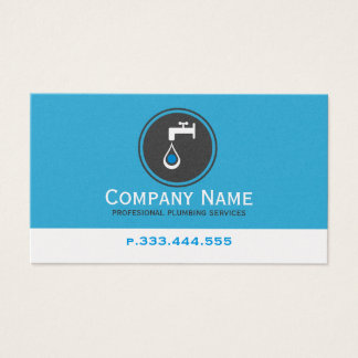 Simple Blue White & Gray Plumbing Services Business Card