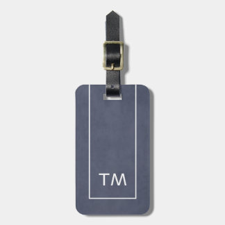 Simple Blue White Lines Bold Monogram Luggage Tag