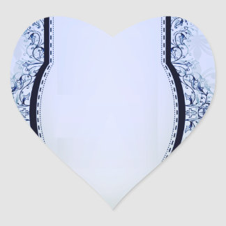 Simple Bluish and Grey Damask Heart Sticker