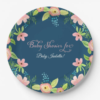 Simple Boho Floral Modern Baby Girl Watercolor Art Paper Plate
