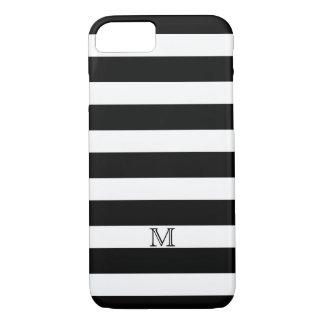 Simple Bold Black White Stripe Monogram iPhone 8/7 Case