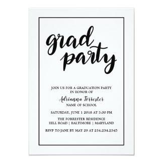 Simple Bold Grad Party Handwritten Typography Card