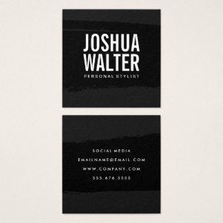 Simple Bold Text Black Brushed Square Business Card