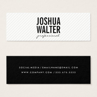 Simple Bold Text with Stripes Mini Business Card