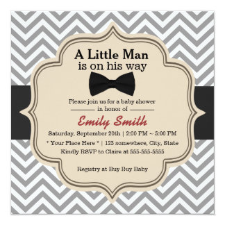 "Simple Bow Tie Little Man Chevron Baby Shower 5.25"" Square Invitation Card"