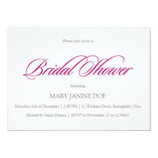 "Simple Bridal Showel Fuschia 4.5"" X 6.25"" Invitation Card"