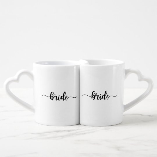 Simple Bride and Bride Script Matching Coffee Mugs
