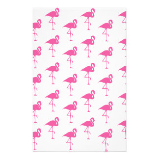 Simple Bright Pink Flamingo Pattern Stationery