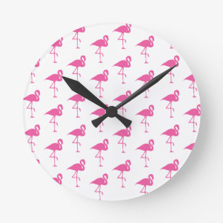 Simple Bright Pink Flamingo Pattern Wall Clock