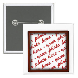 Simple Brown  Photo Frame 2 Inch Square Button