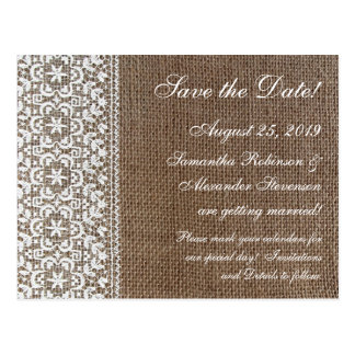 Simple Burlap and Lace Postcard