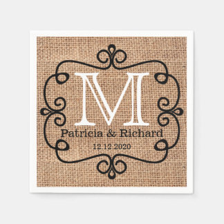 Simple Burlap Bride Groom Wedding Monogram Paper Napkin