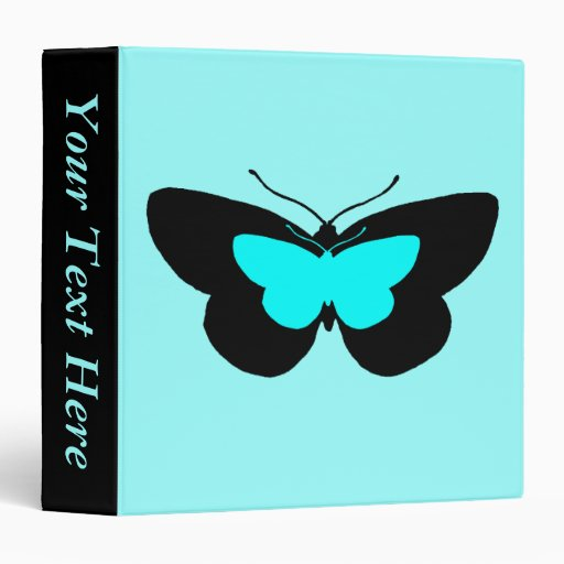 Simple Butterflies in Black & Baby Blue 3 Ring Binder