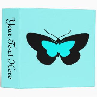 Simple Butterflies in Black & Baby Blue Vinyl Binder
