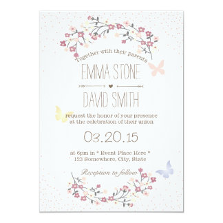 Simple Butterfly & Flowers Spring Wedding Card