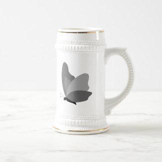 Simple Butterfly - Grey Beer Stein